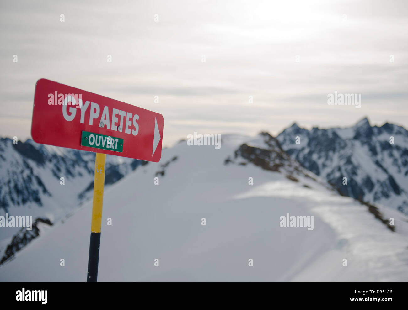 Marker for a red slope at La Mongie, skiing resort of the Grand Tourmalet area in the high Pyrenees, France Stock Photo