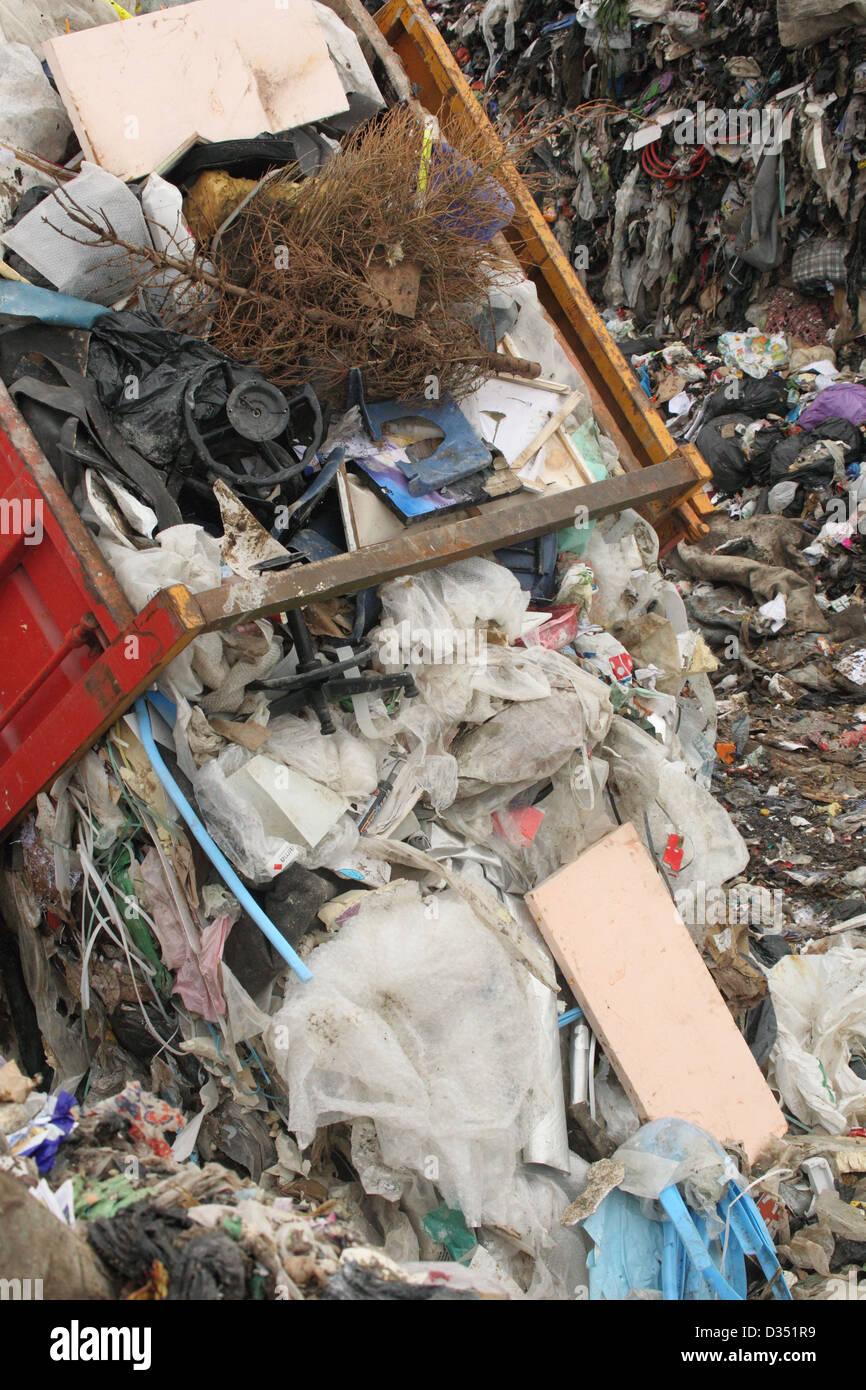 Lorry tipping on landfill, Dorset UK Febuary - Stock Image