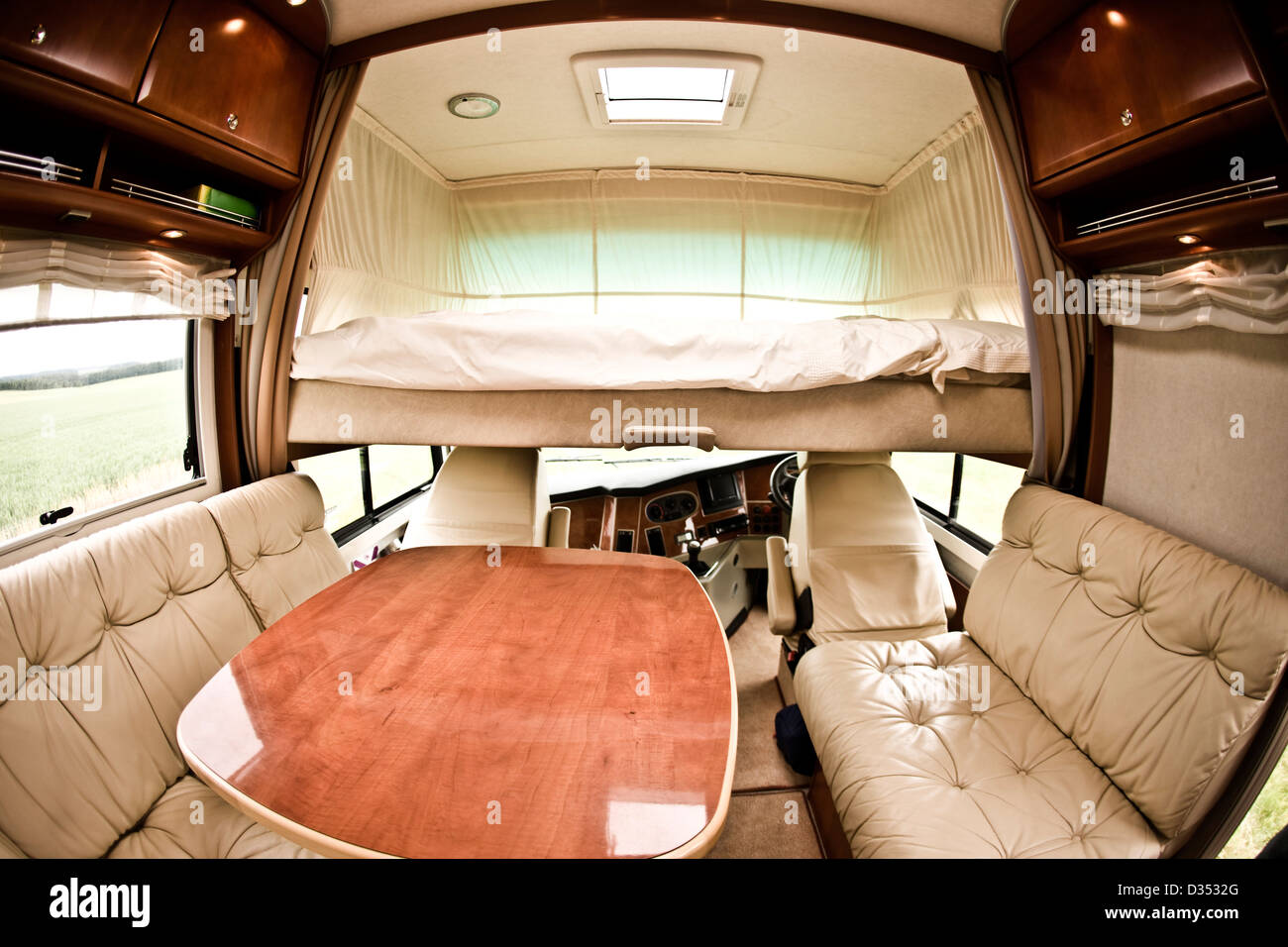 Alcove Bed Above Drivers Cab In Concorde Luxury Motorhome Interior