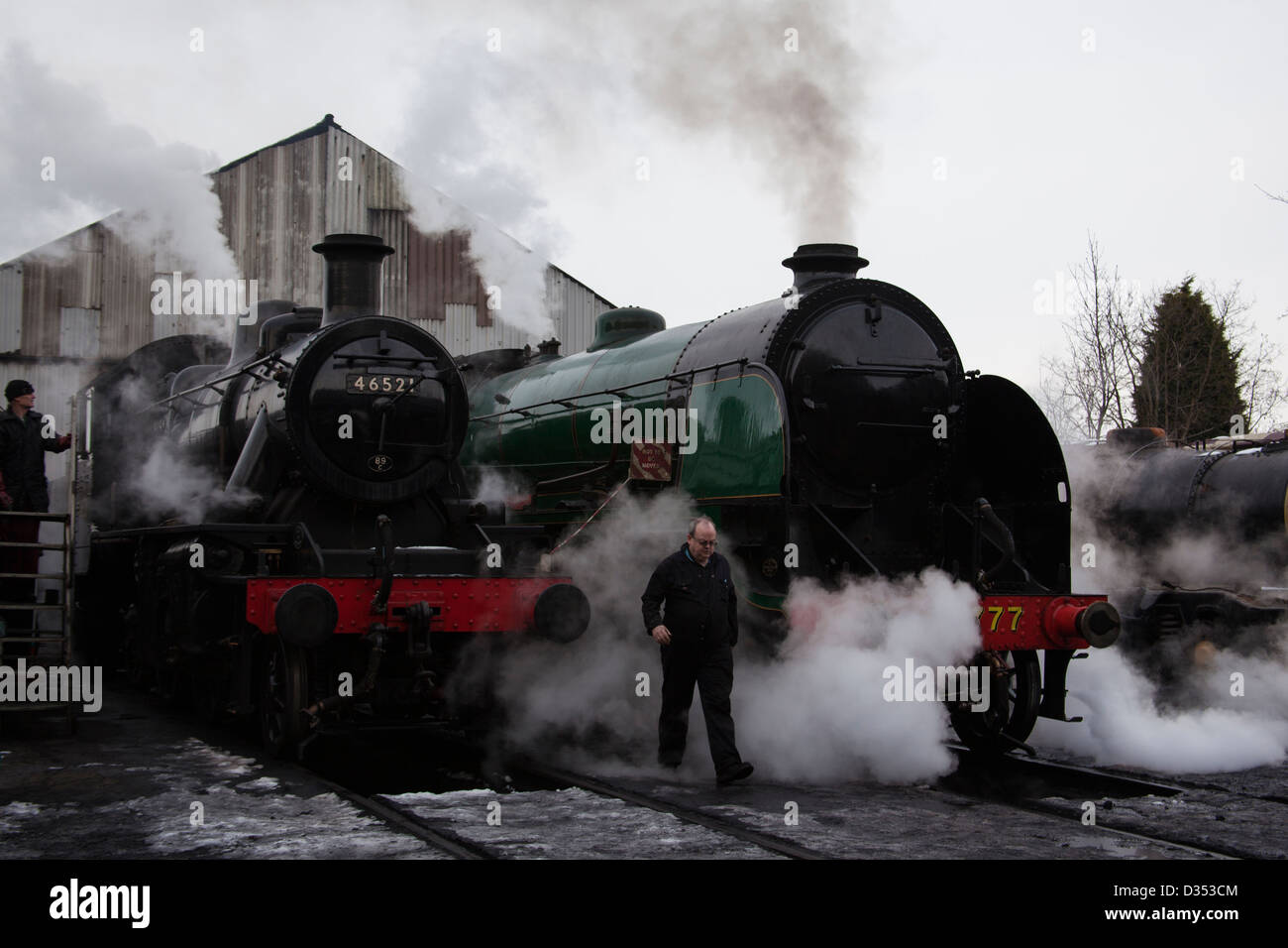 steam locomotives at the engine shed on the Great Central Railway at Loughborough. - Stock Image