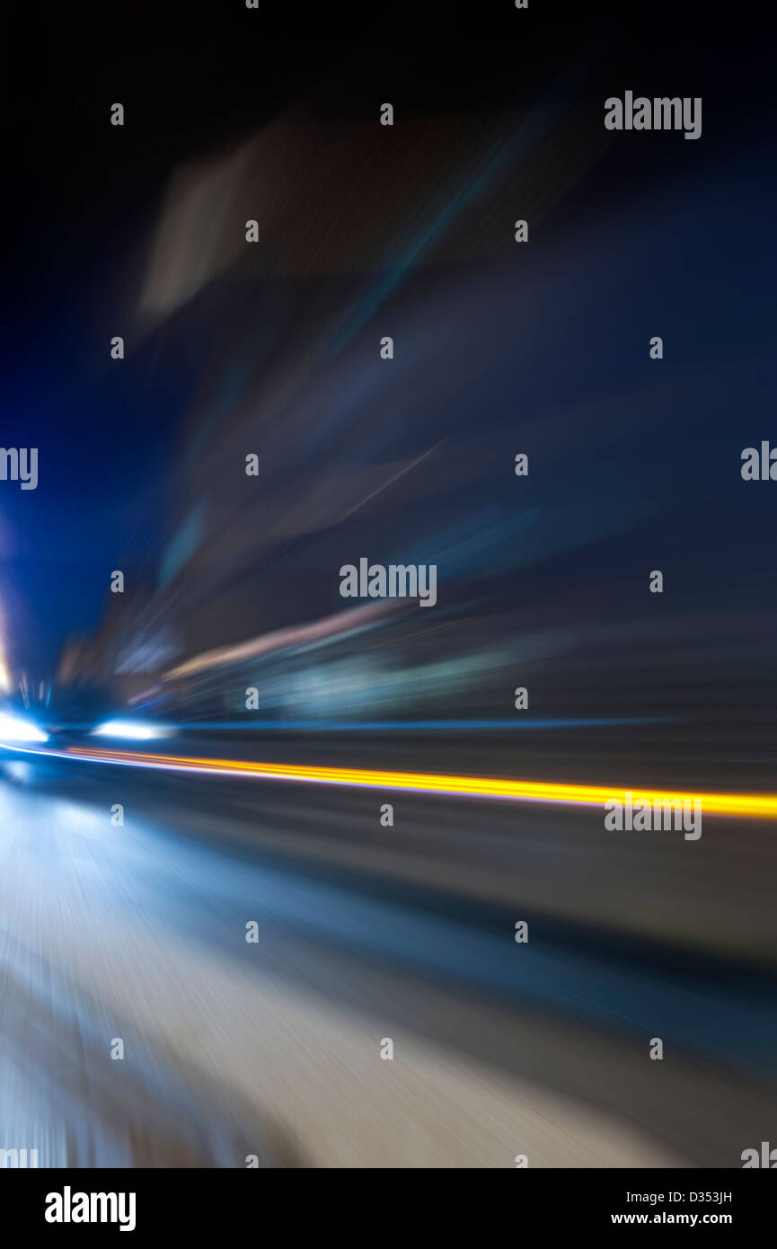 Night acceleration speed motion abstract composition - Stock Image
