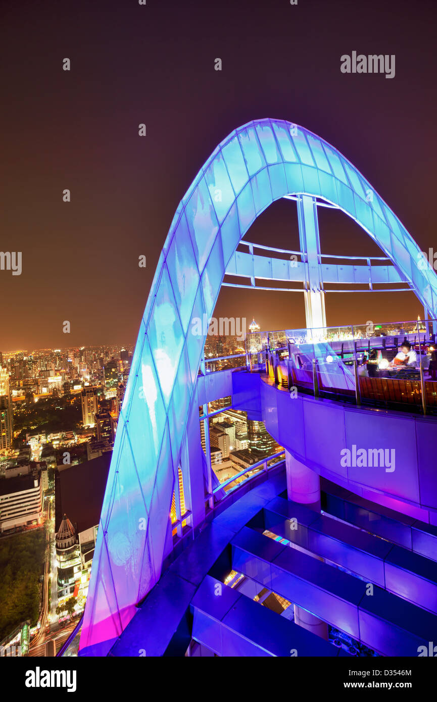 Red Sky Bar, one of the multiple rooftop bars in Bangkok, Thailand Stock Photo