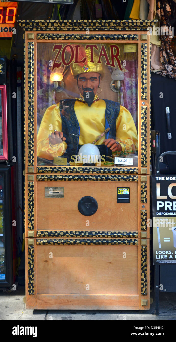Zoltar. A speaking fortune telling machine on Second Avenue in the East Village section of Manhattan, New York City - Stock Image