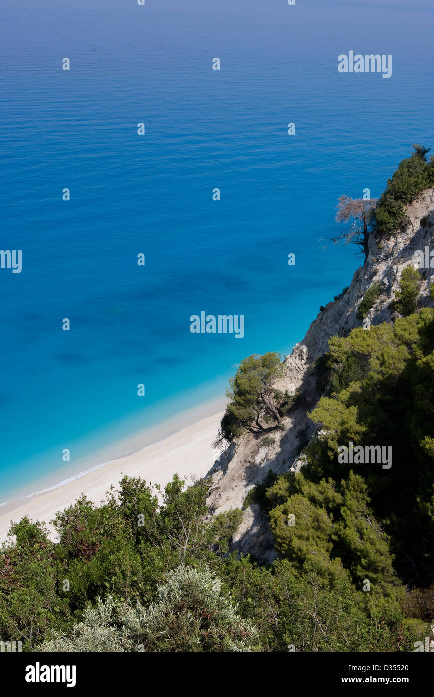 A view of the beach from the majestic cliffs above Egremni; Lefkada, Ionian islands. Greece. - Stock Image