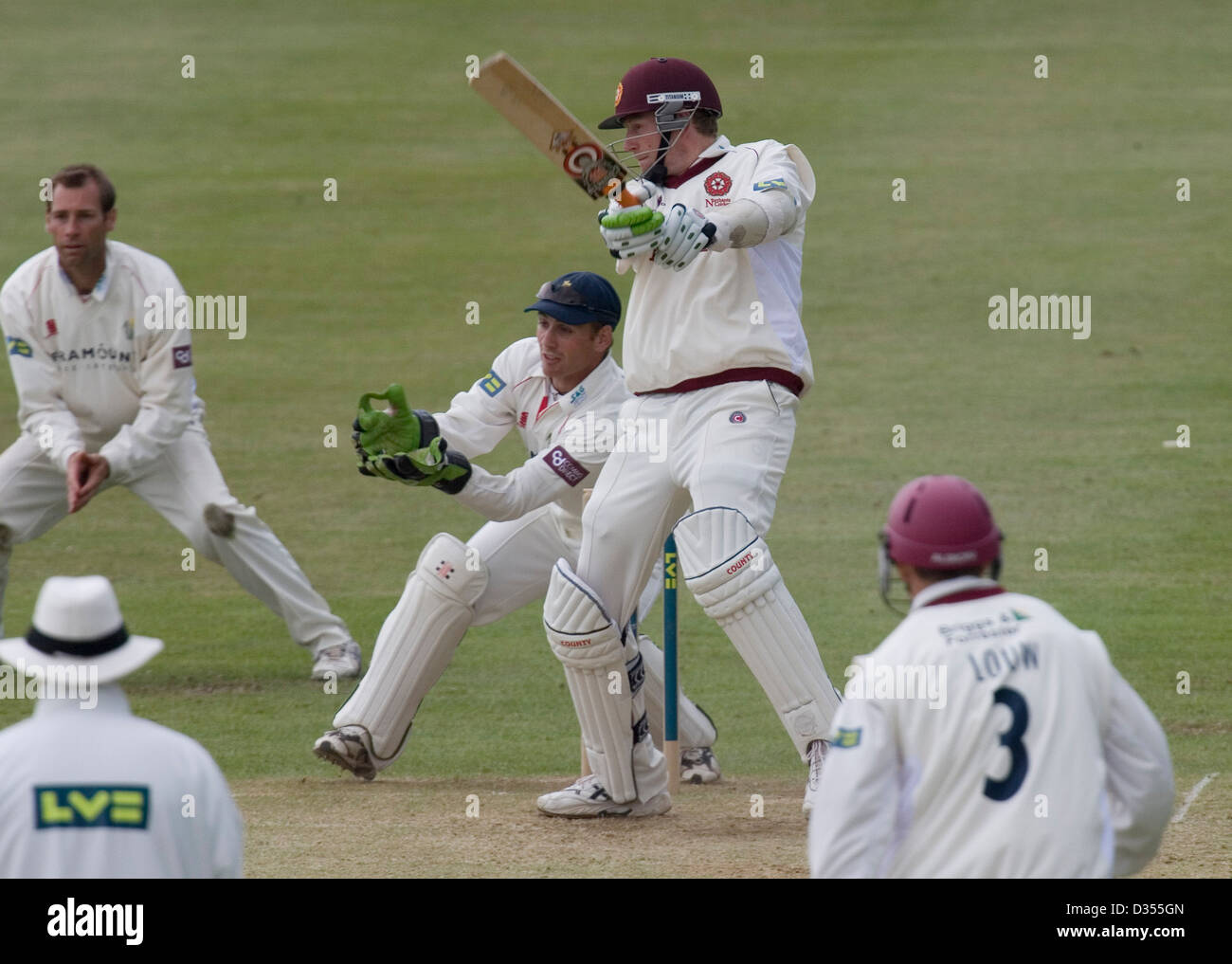 22.05.08 Glamorgan v Northants at St. Helens Swansea Northants' David Lucas cuts away for four. - Stock Image