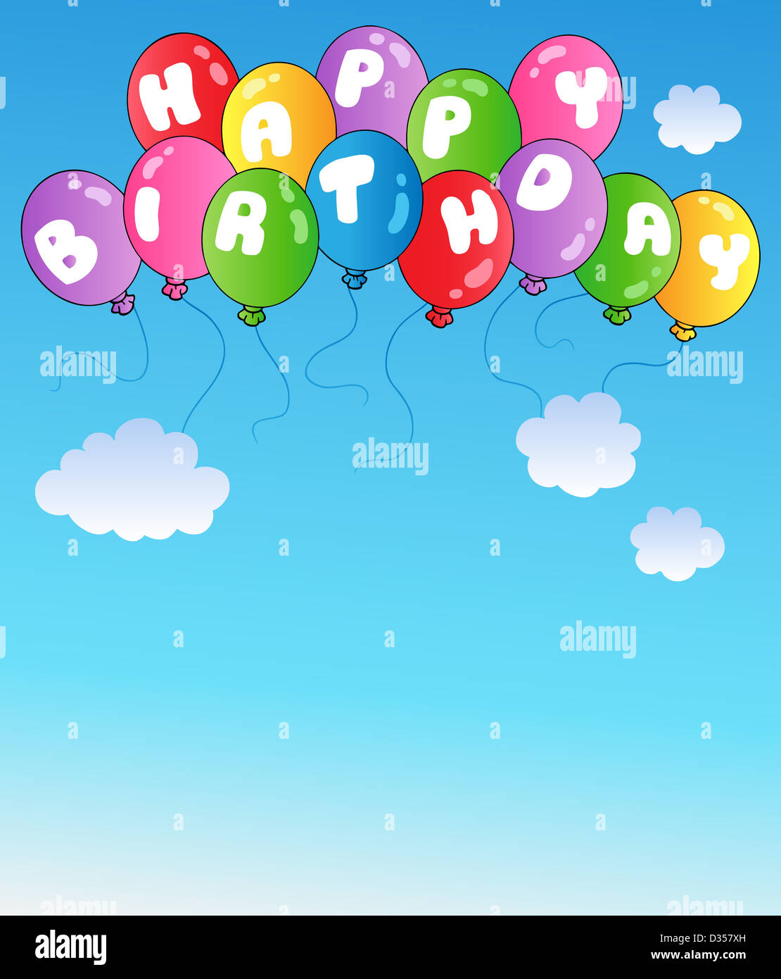 Happy Birthday Balloons On Blue Sky