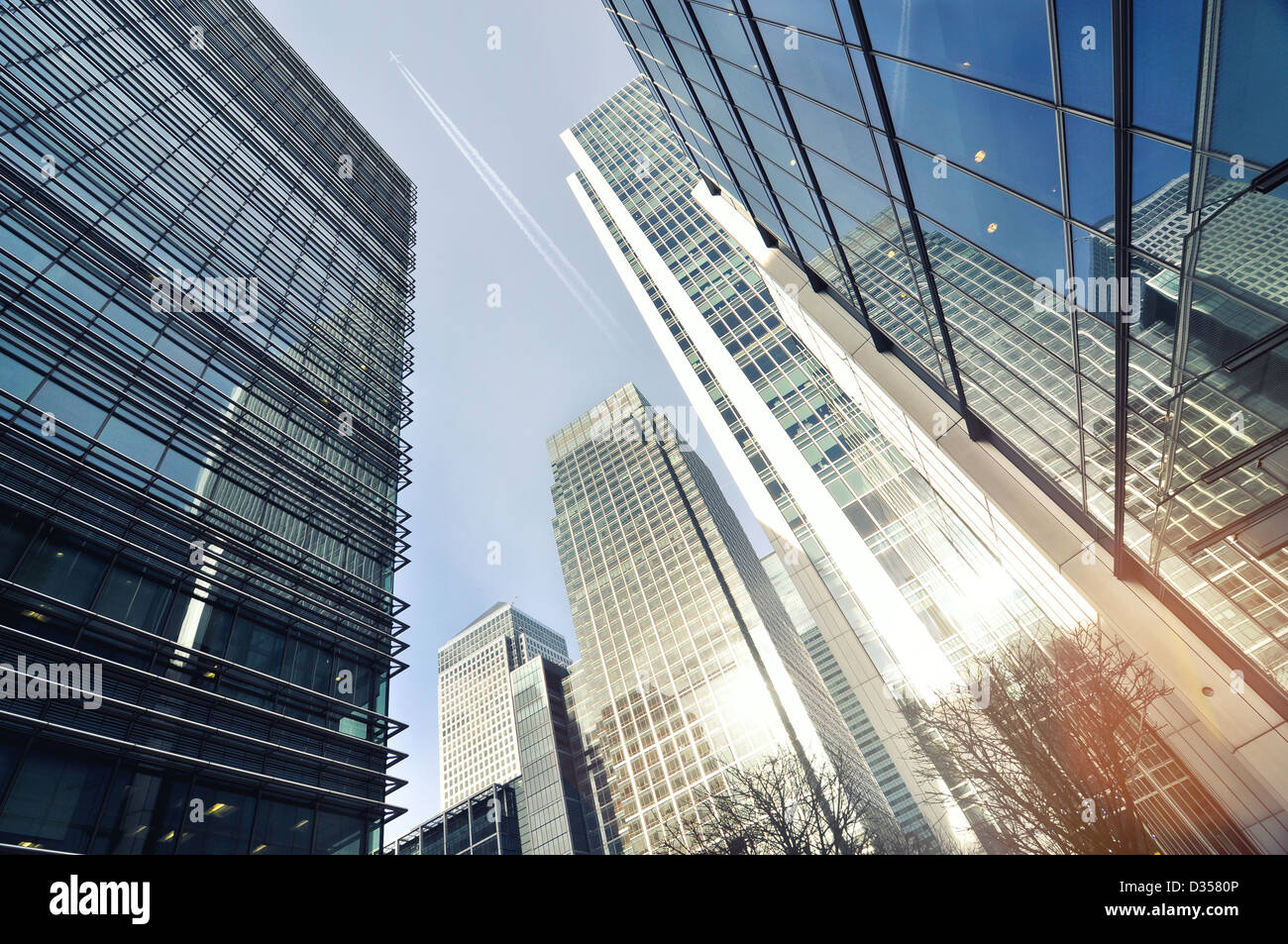 panorama of skyline buildings in Canary Wharf, Docklands, London - Stock Image
