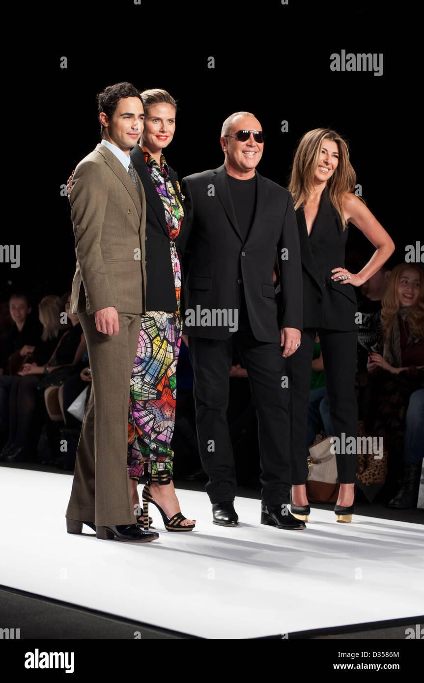 Judges for the Project Runway season 11 Finale Show. Zac Posen, Heidi Klum, Michael Kors, and Nina Garcia. - Stock Image