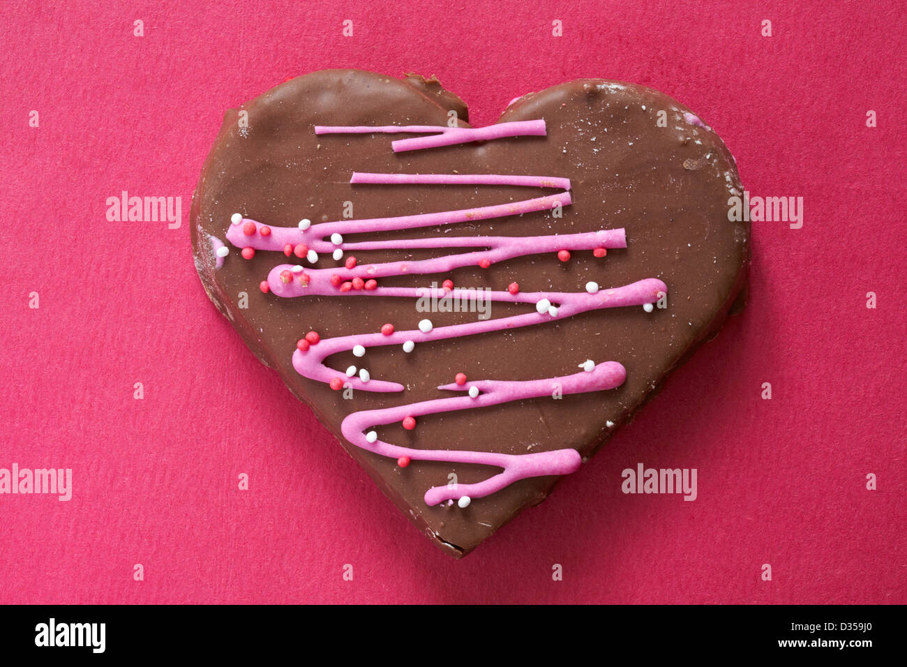 Valentine Chocolate Heart Cake Heart Shaped Cake Isolated On Pink