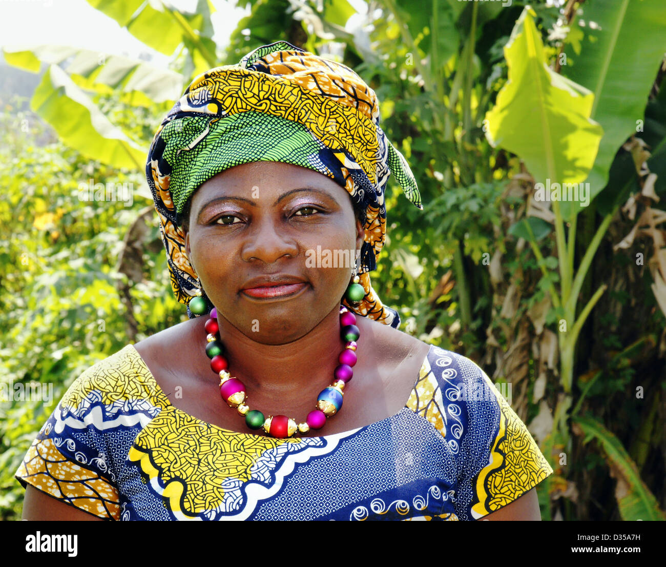 Beautiful African middle age woman - Stock Image
