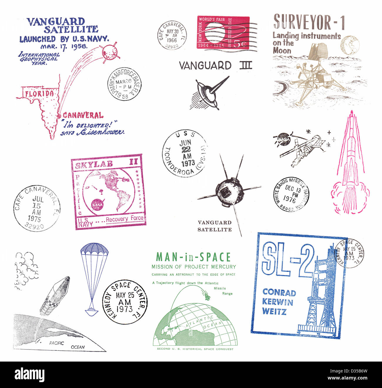 Stamps and postmarks from the USA, with motifs of space from the 50s