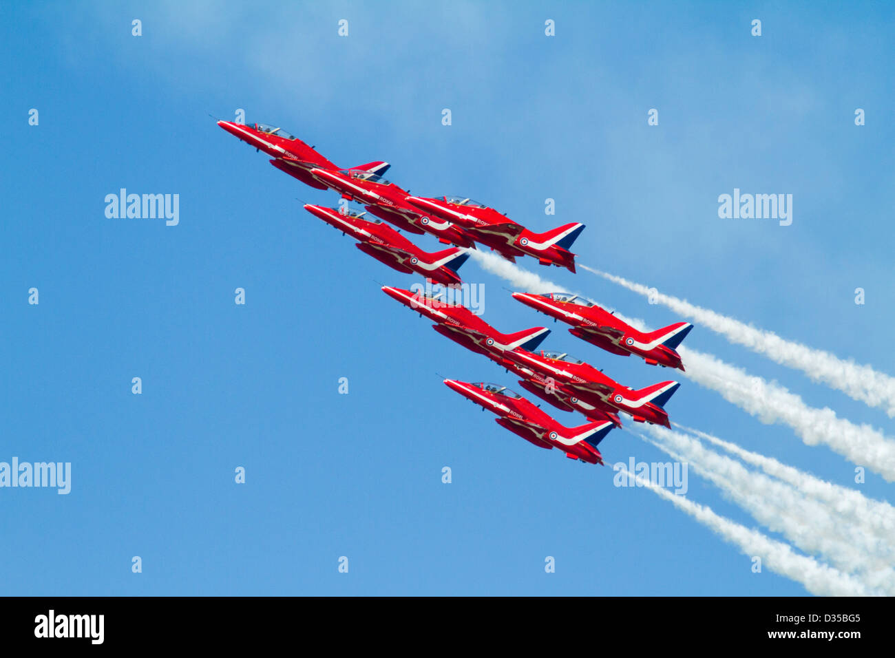 Red Arrows Aerobatic Team in flight - Stock Image