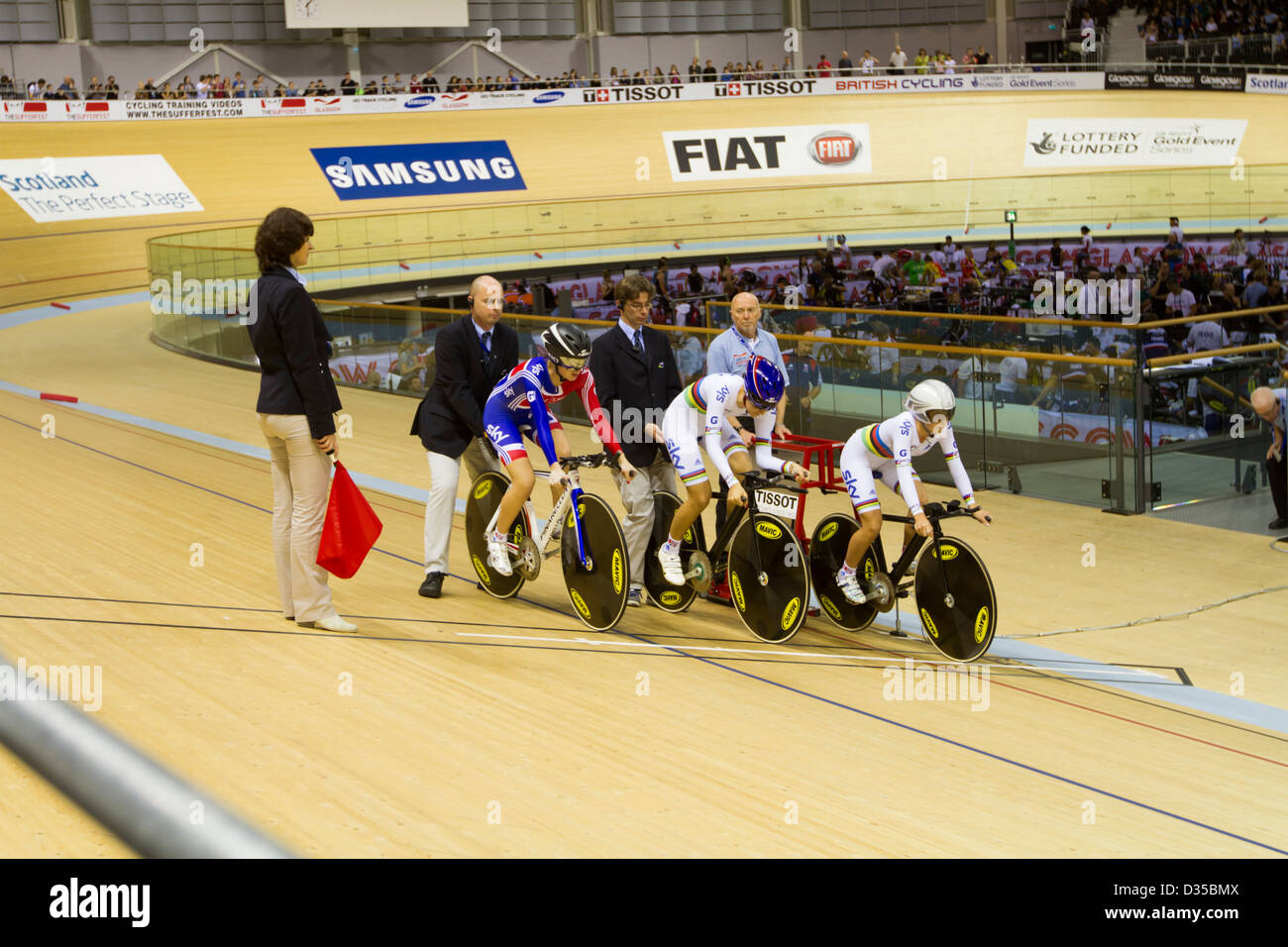 Great Britain women team pursuit start - Stock Image