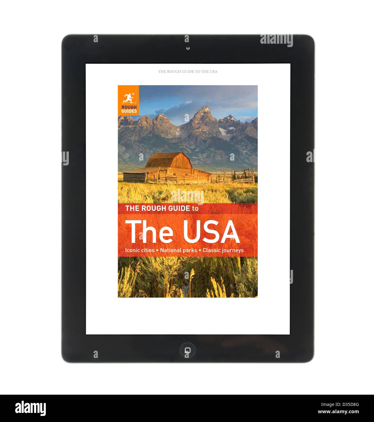 Reading a Rough Guide travel book with the Kindle app on an Apple iPad 4th genration retina display tablet computer - Stock Image