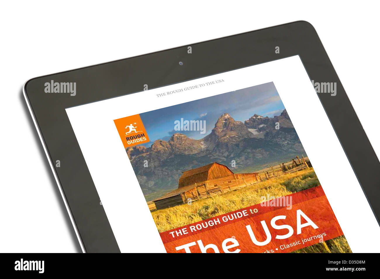 Reading a Rough Guide travel book with the Kindle app on an