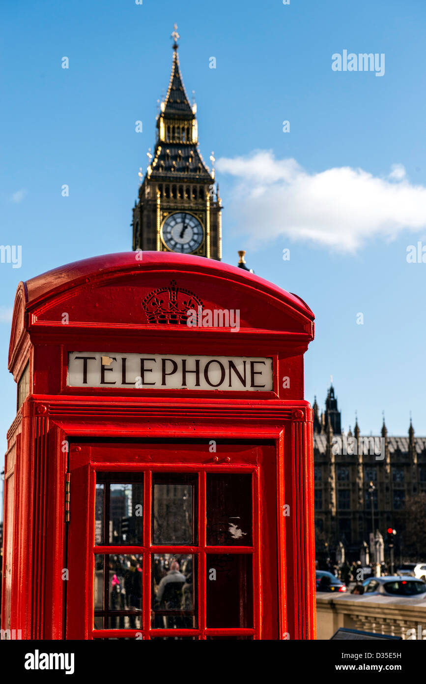 Red telephone box and Big Ben London England Great Britain UK - Stock Image