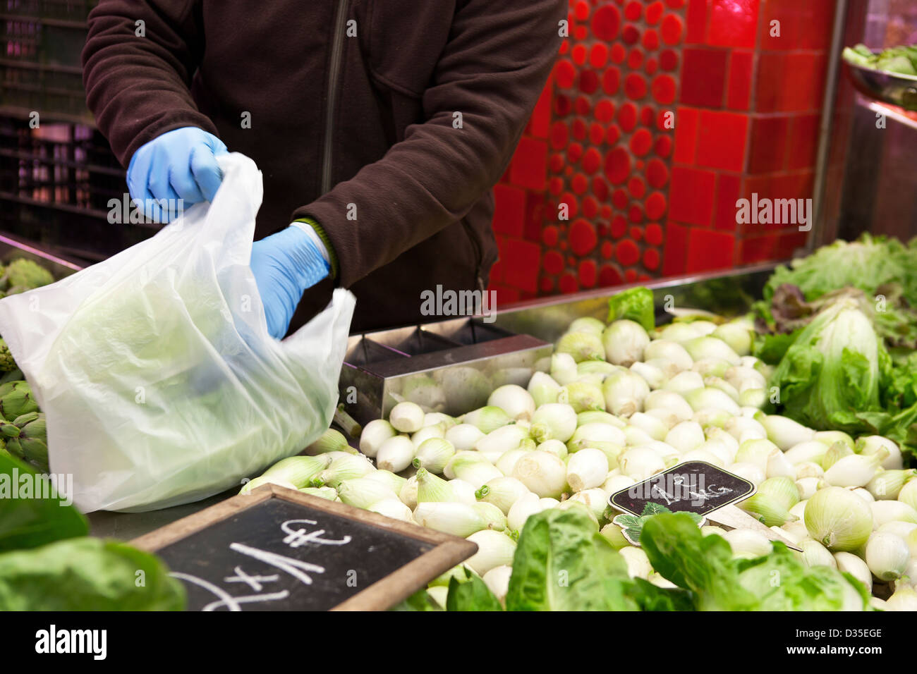 Promotion sales in greengrocery - Stock Image