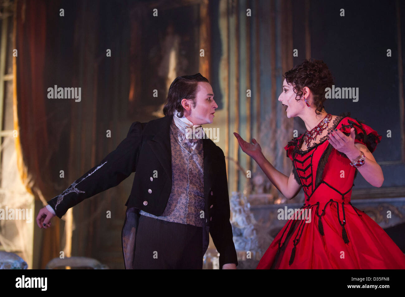 The play Great Expectations adapted from a Charles Dickens novel opens at the Vaudeville Theatre in London - Stock Image