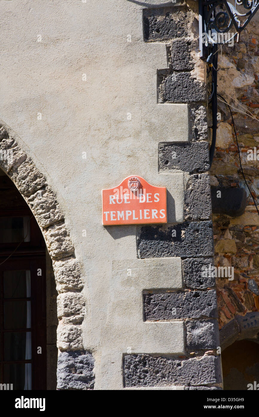 Rue des Templiers, sign on wall, Grimaud, France - Stock Image
