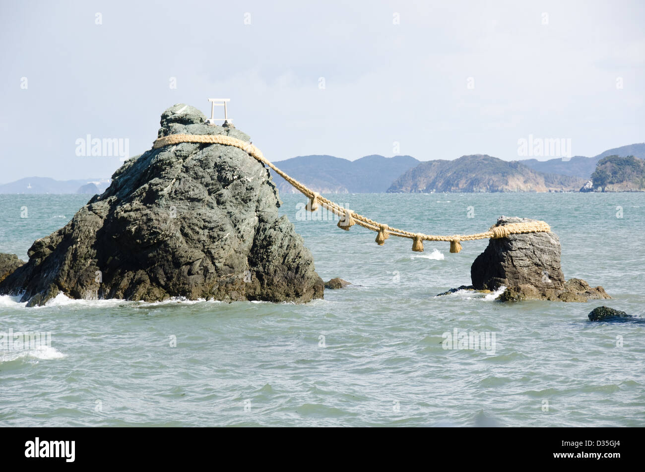 Meoto Iwa or the Loved one and loved one Rocks at Mie, Japan - Stock Image