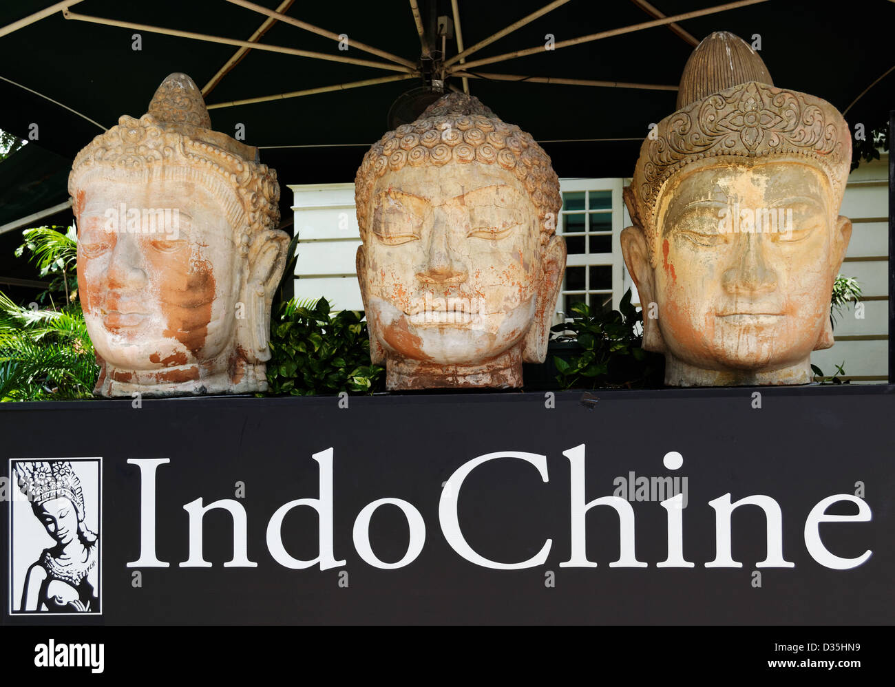 Buddha heads on display at the Asian Civilisations Museum Singapore - Stock Image