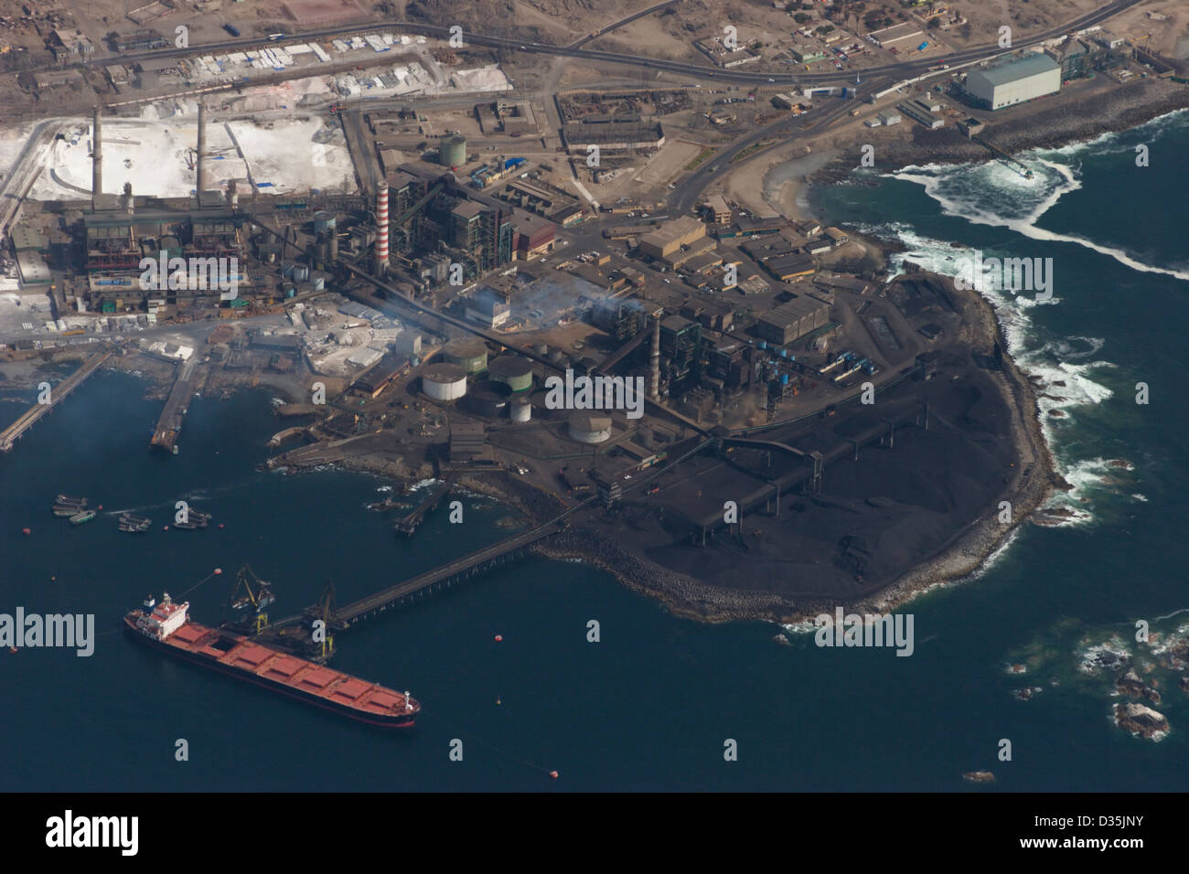 Tocopilla Chile aerial shot of ship anchorage coal - Stock Image
