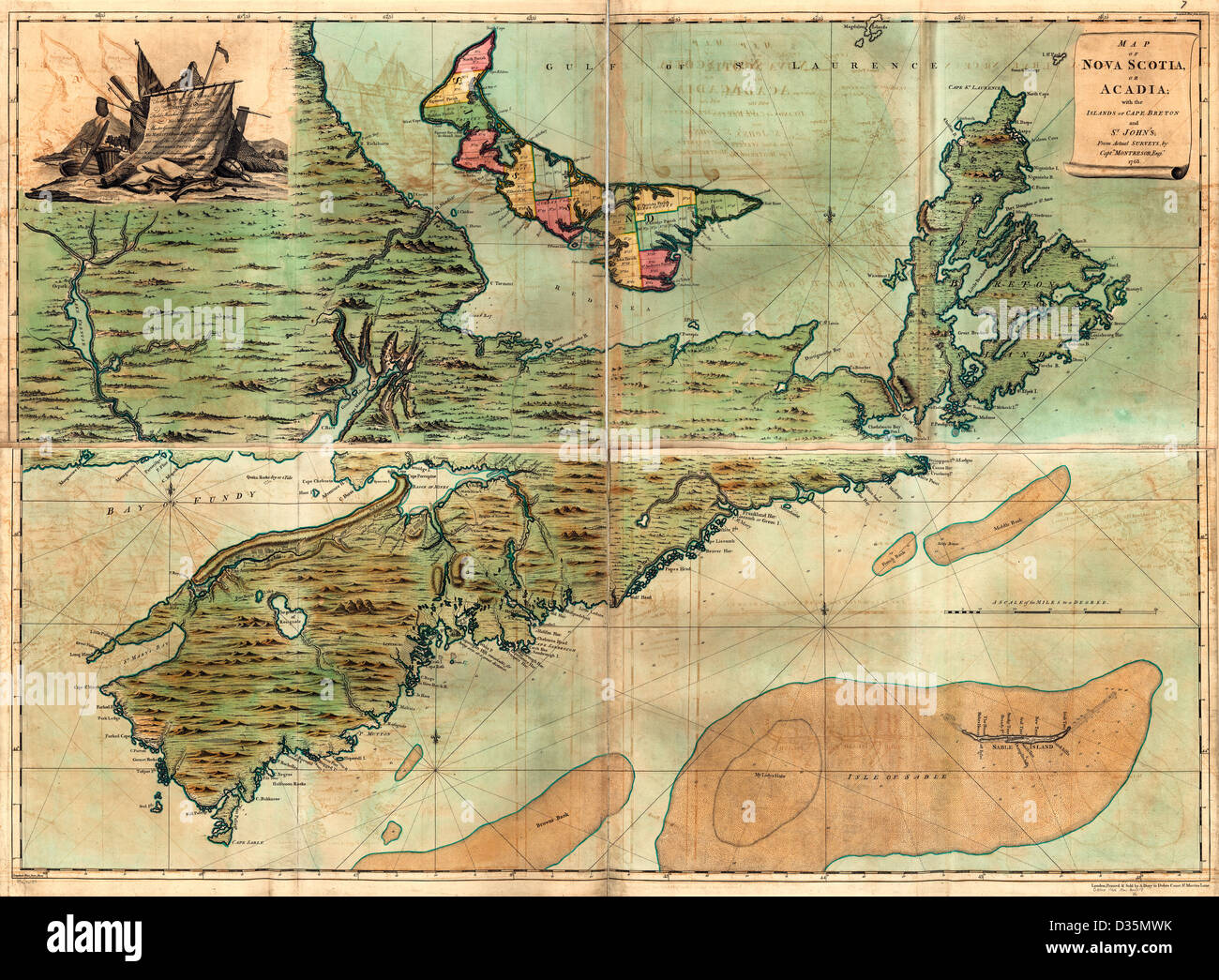 Map of Nova Scotia, or Acadia; with the islands of Cape Breton and St. John's, from actual surveys, circa 1768 - Stock Image
