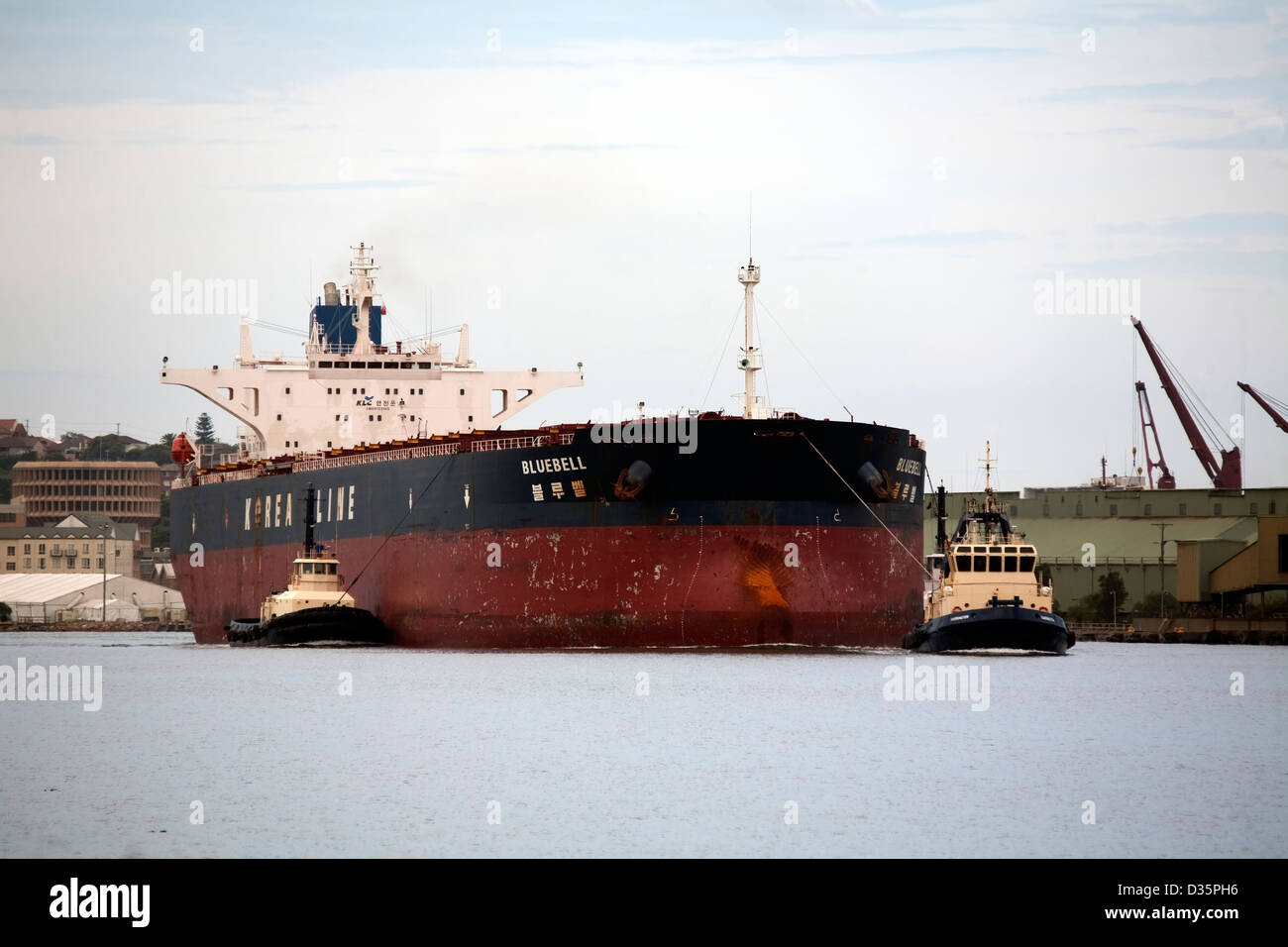 MV Bluebell a Dry Bulk Carrier arriving to load coal from Newcastle New South Wales Australia with the assistance - Stock Image