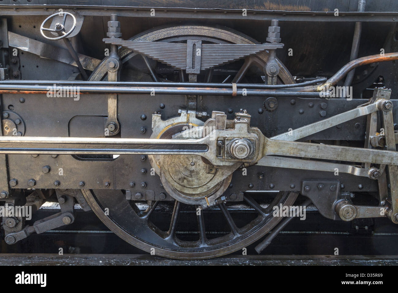Details of old steam locomotive / engine in railway museum - Stock Image