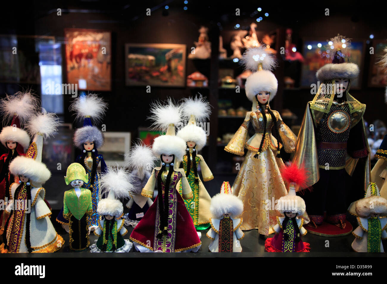 Ethnic Kazakh dolls in Astana, Kazakhstan - Stock Image