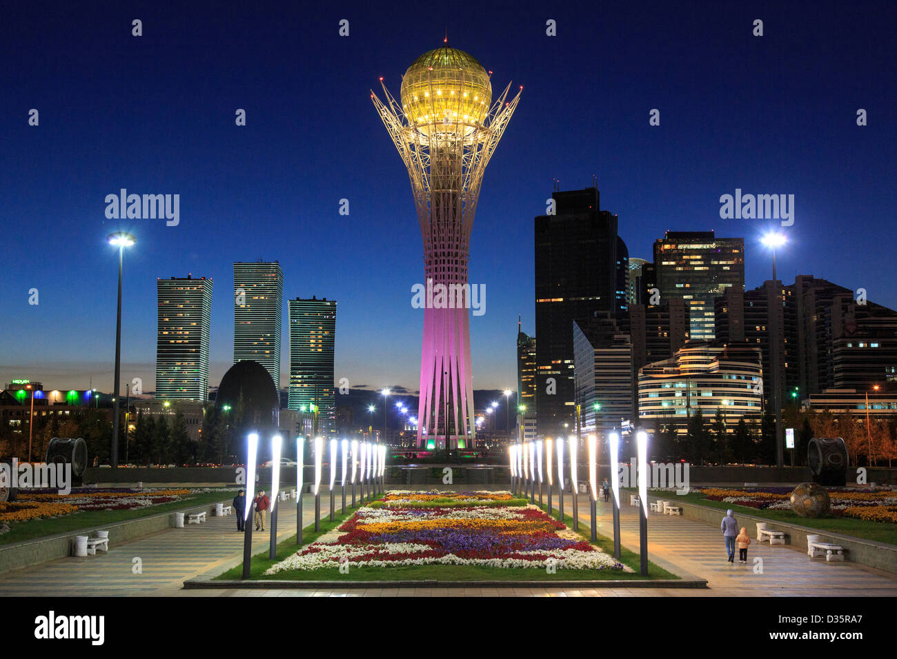 Baiterek tower, the national monument of Kazakhstan, in the nation's capital, Astana - Stock Image