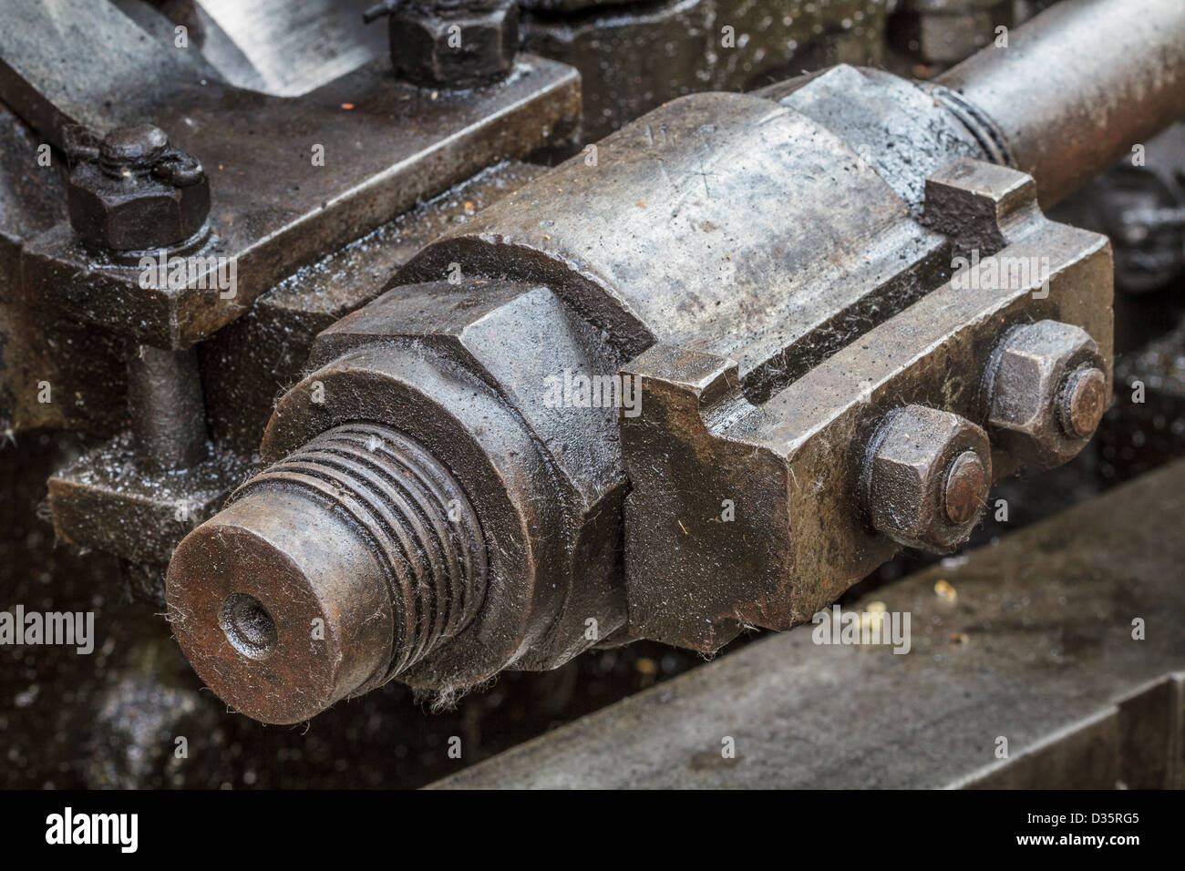 Details of old greasy machinery / steam engine - Stock Image