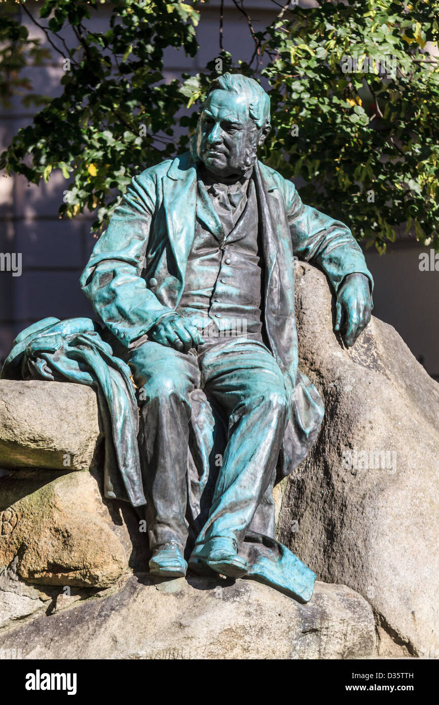 Statue of famous Austrian writer and poet Adalbert Stifter in Linz, Austria - Stock Image