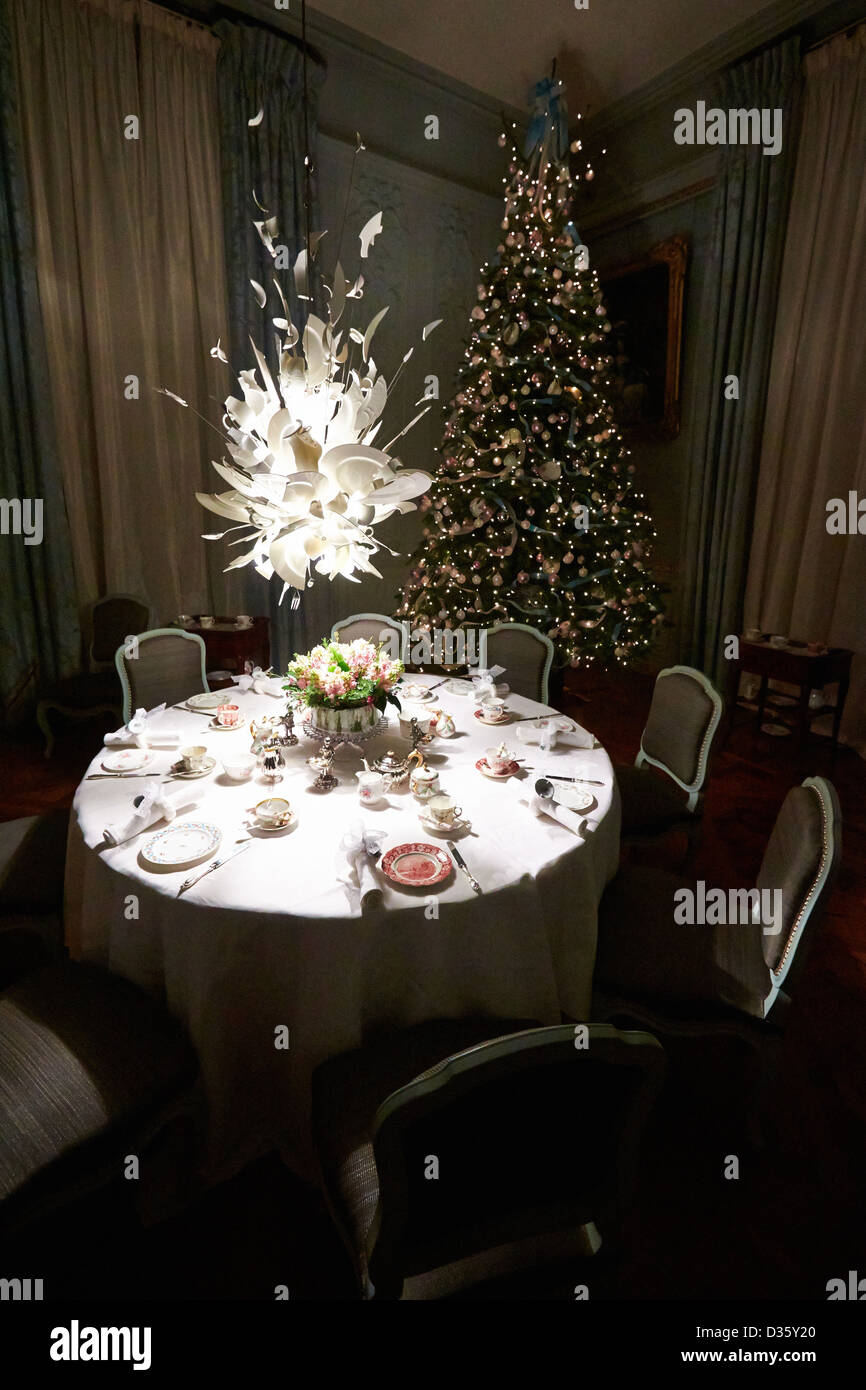 Christmas tree in th blue dining room including the porca miseria christmas tree in th blue dining room including the porca miseria chandelier designed by ingo maurer at waddesdon manor aloadofball Image collections