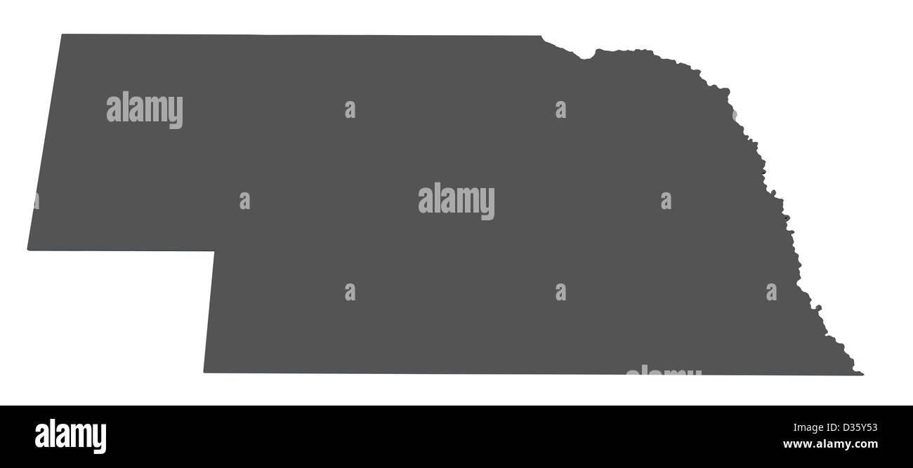 Map Of The State Of Nebraska Usa Stock Photo 53606143 Alamy