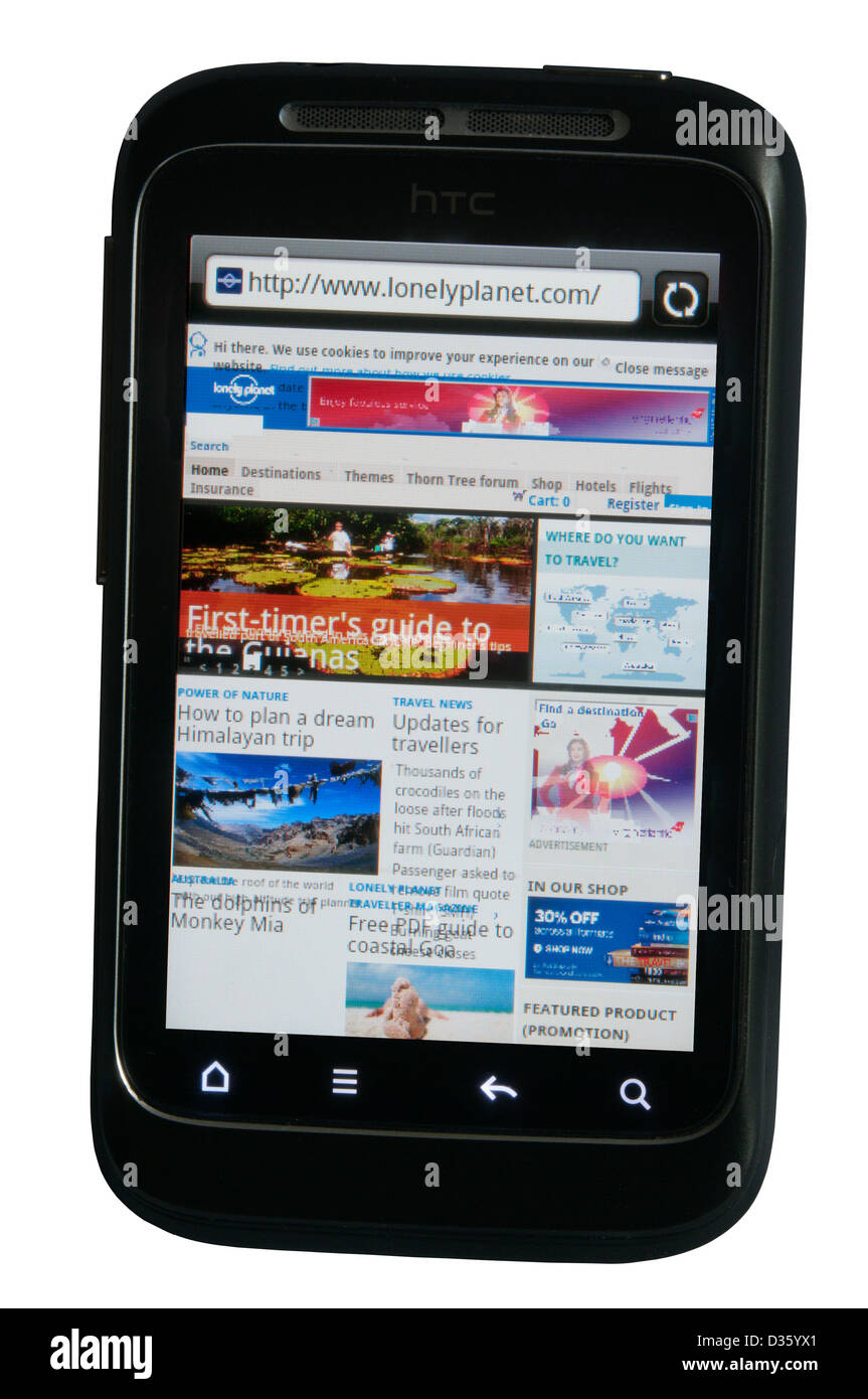 Lonely Planet website app displayed on a mobile phone. - Stock Image