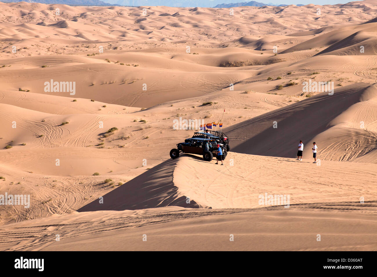 ATVs and 4-wheel-drive vehicles at Algodones Dunes or Imperial Sand Dunes, Imperial County, California, USA - Stock Image