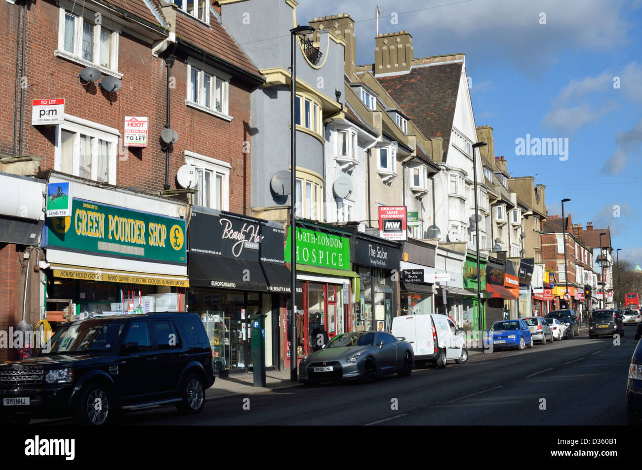 palmers green town centre london uk stock photo. Black Bedroom Furniture Sets. Home Design Ideas