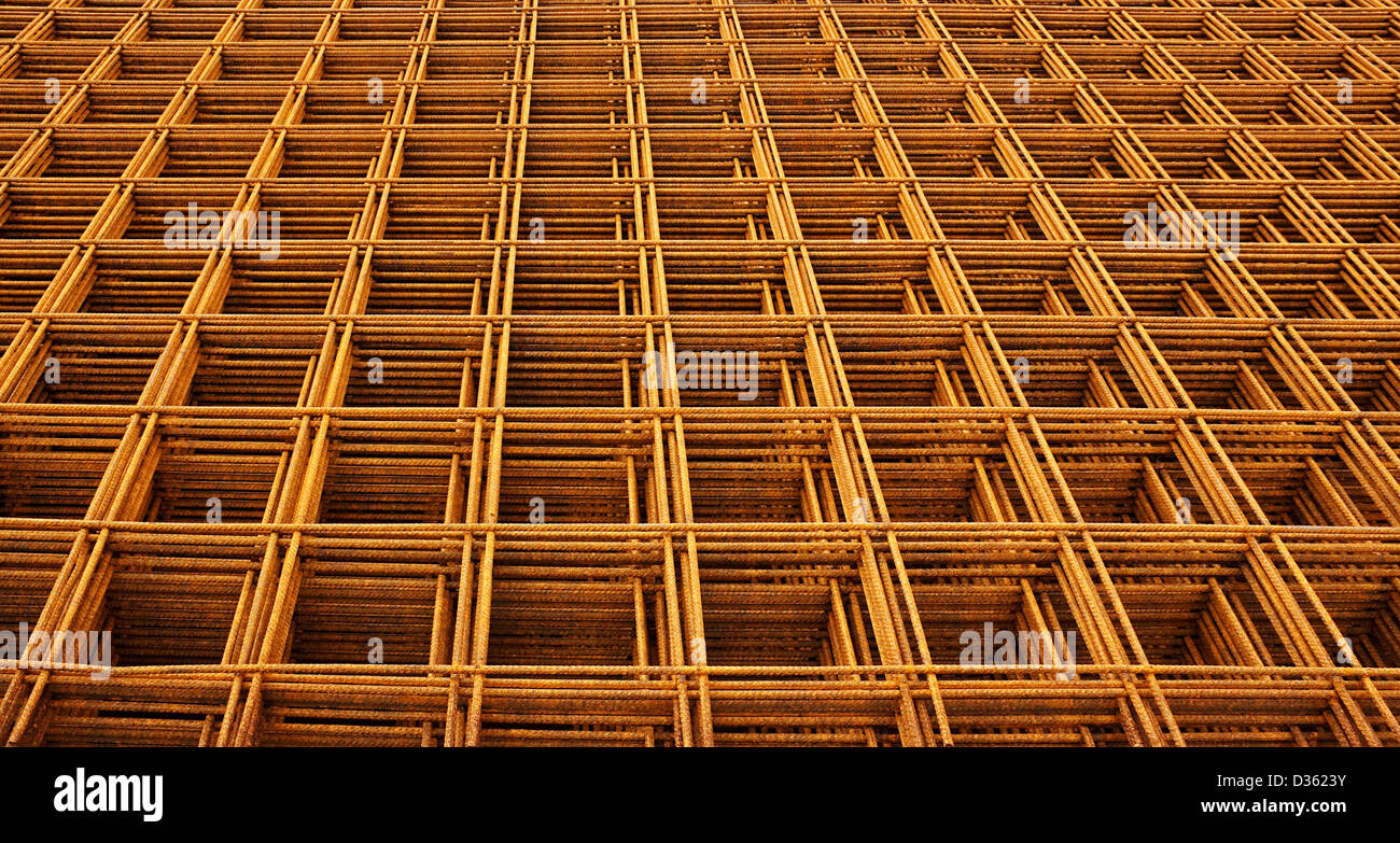 welded wire mesh stacked creating abstract industrial or engineering background Stock Photo
