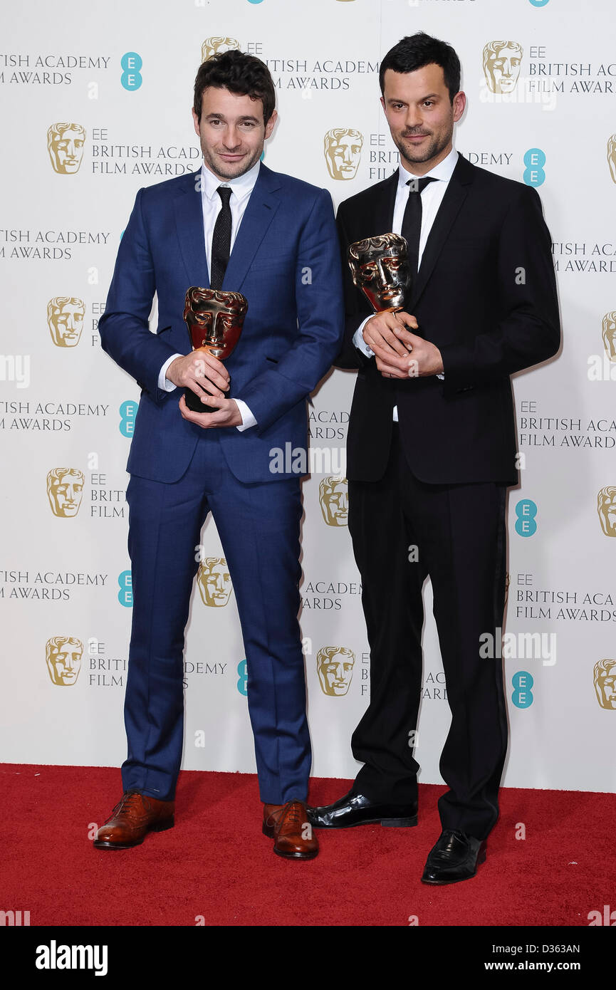 London, UK. Feb 10th, 2013. Bart Layton and Dimitri Doganis, winners of the Outstanding Debut By A British Writer, - Stock Image