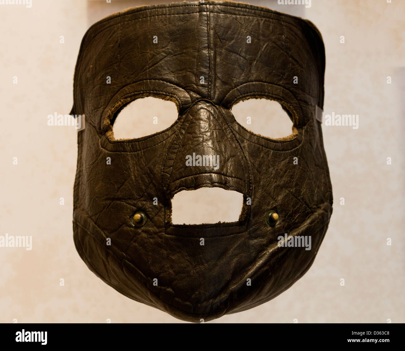 Leather face mask - Stock Image