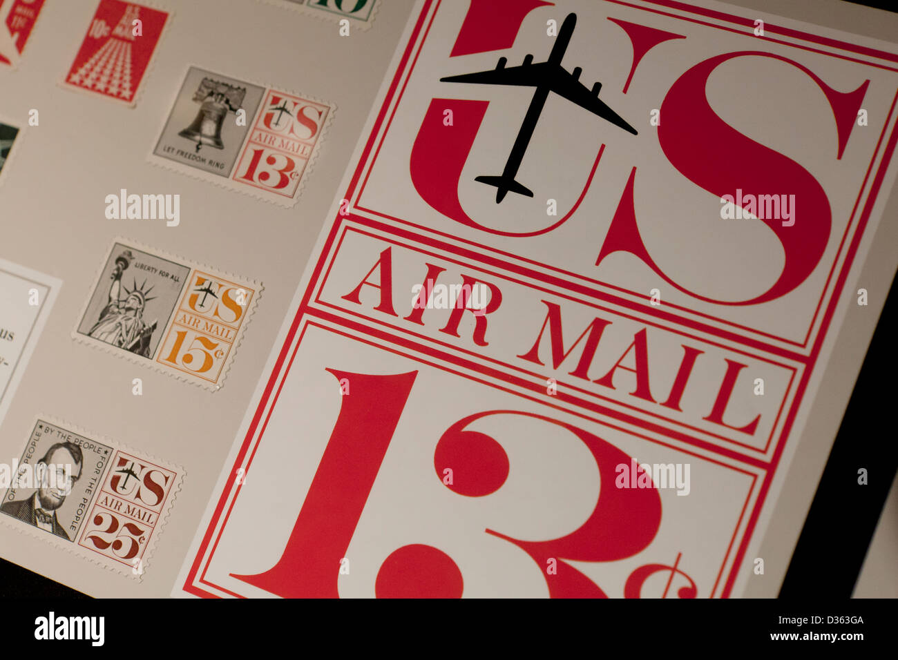 US Air Mail stamps - Stock Image