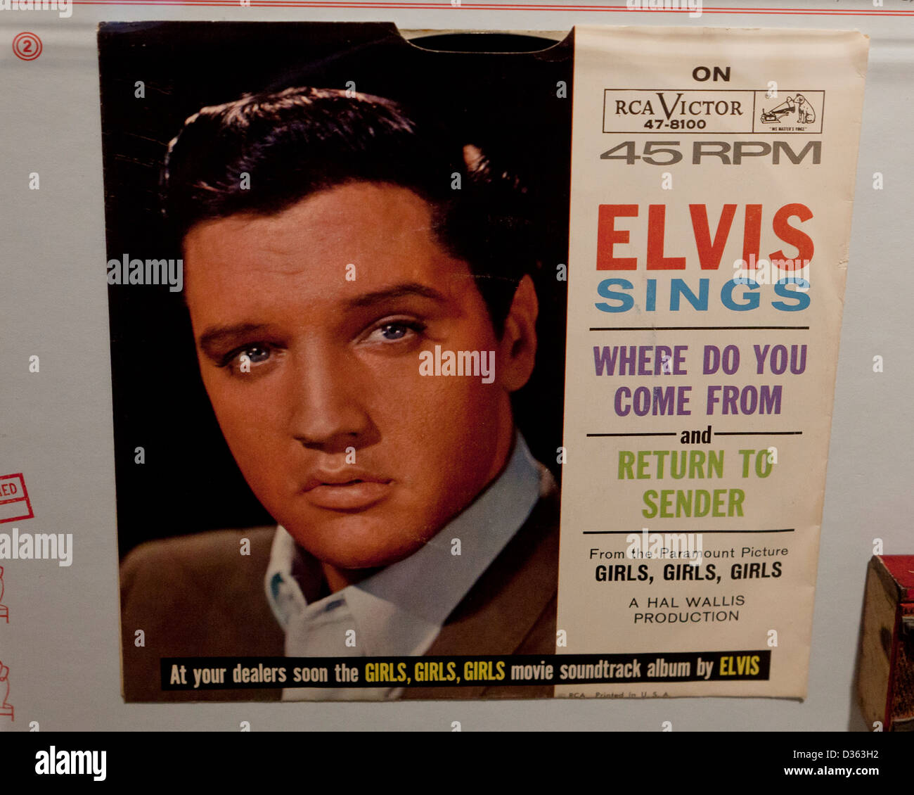 Elvis single, 45 RPM record - Where do you come from, Return to sender - Stock Image