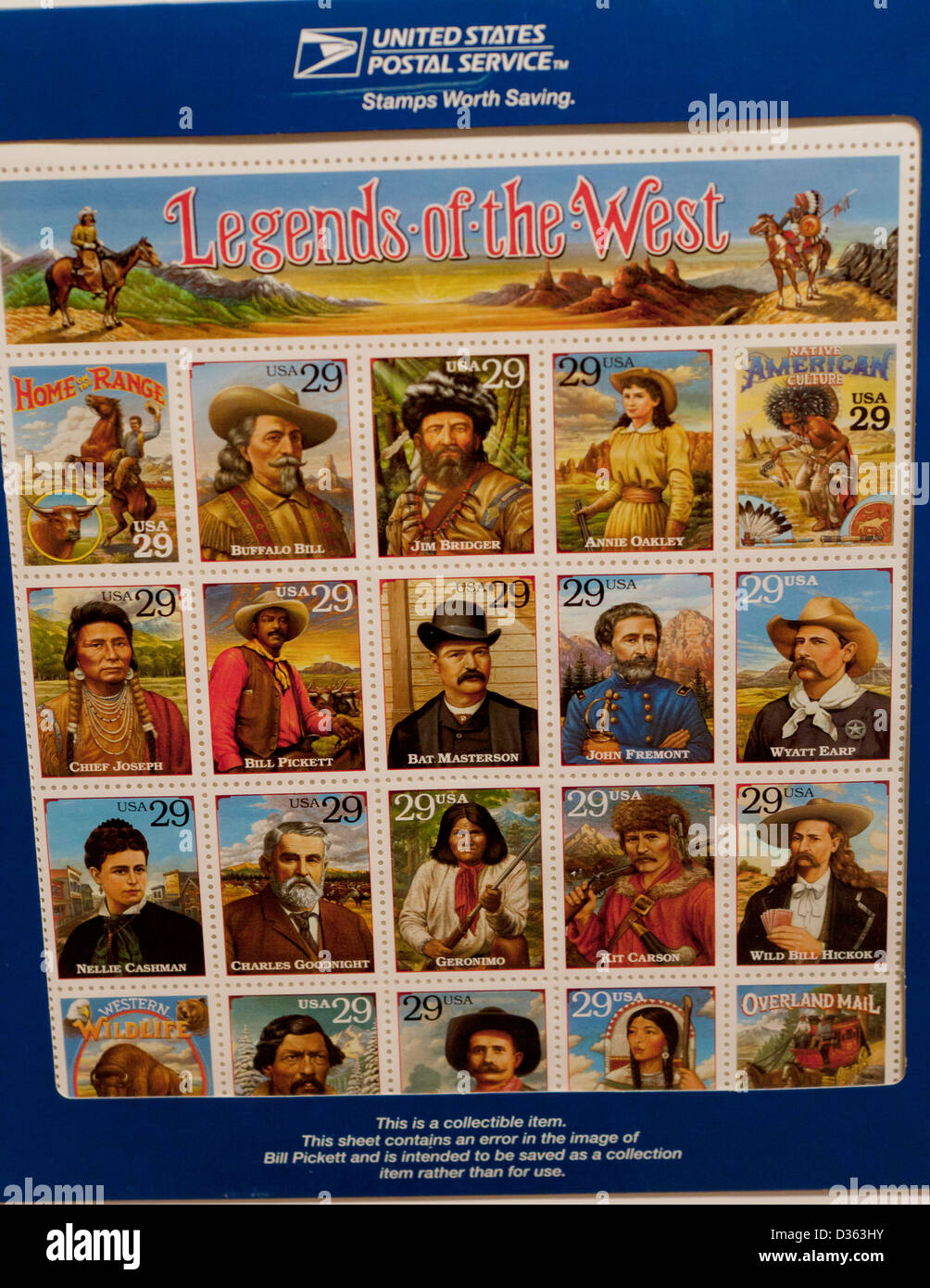 Legends of the West collectible stamp sheet Stock Photo