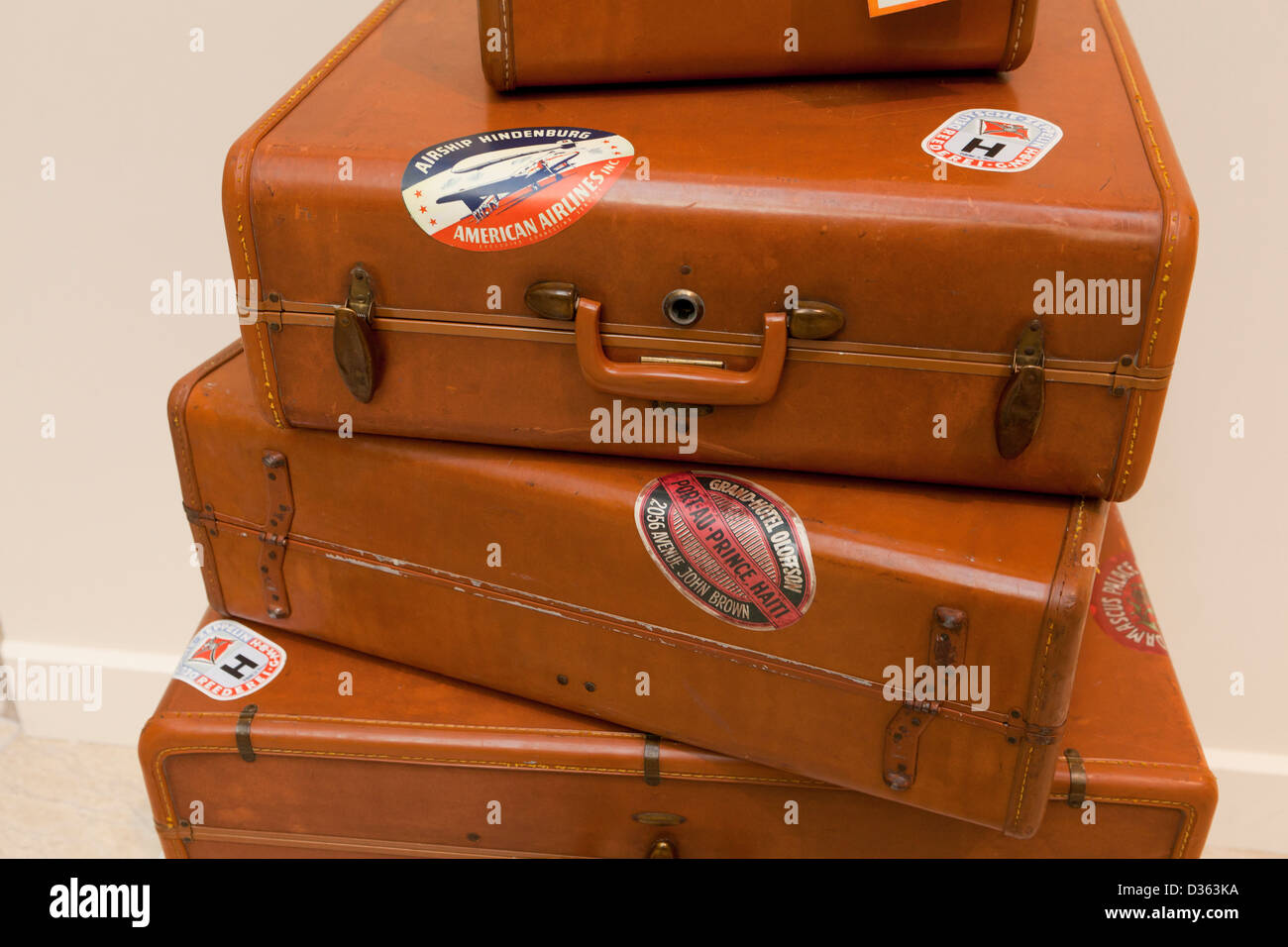Vintage leather luggage - Stock Image