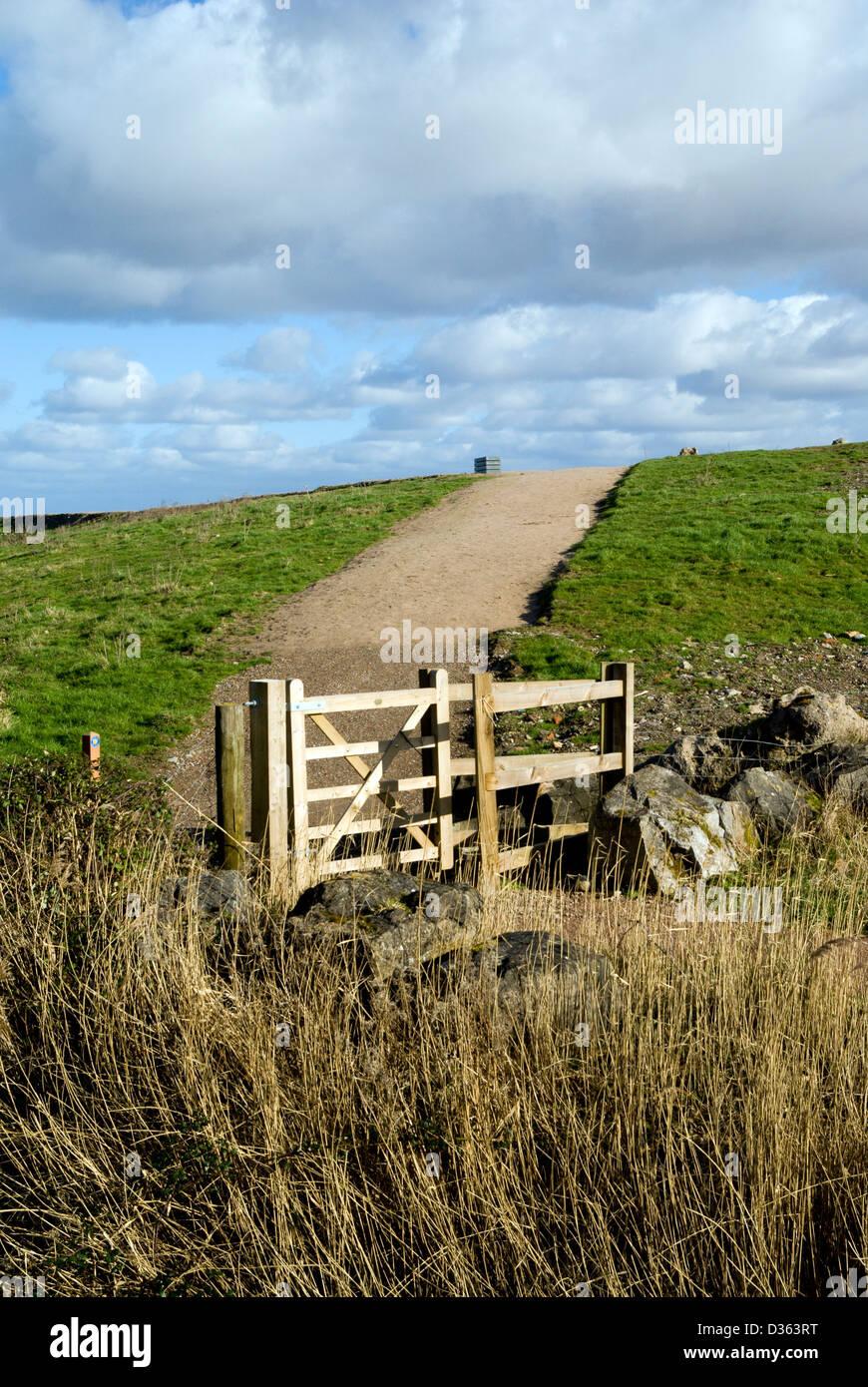 all wales coastal path cardiff foreshore near lamby way south wales uk - Stock Image