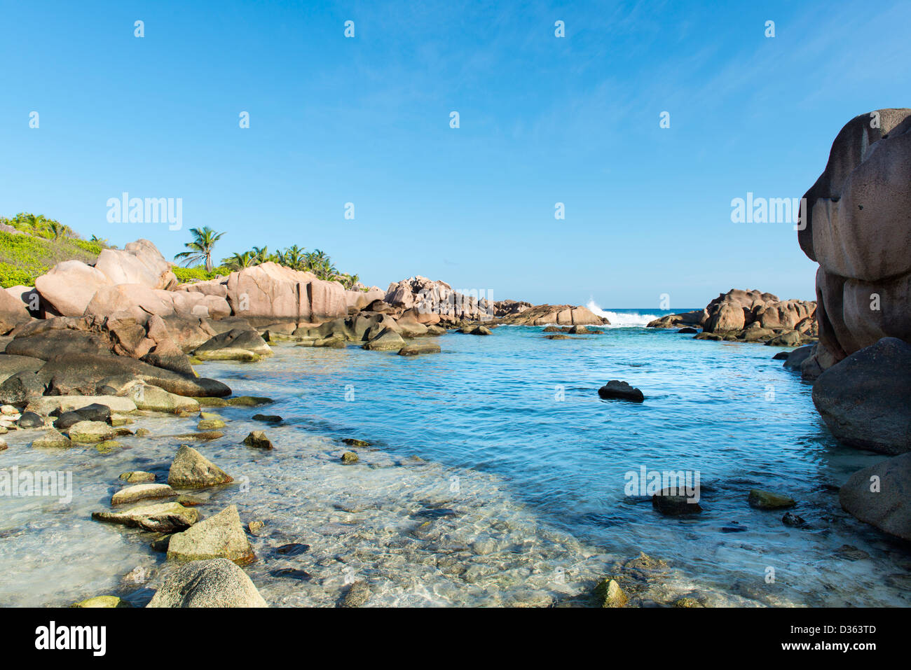 Tropical beach at Seychelles - nature background - Stock Image
