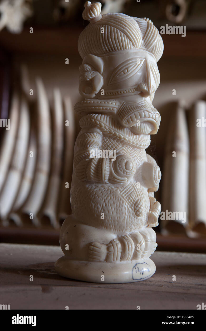 CAMEROON, 3rd October 2012: Carved Ivory and elephant tusks confiscated by the Ministry of Forests and Wildlife. - Stock Image