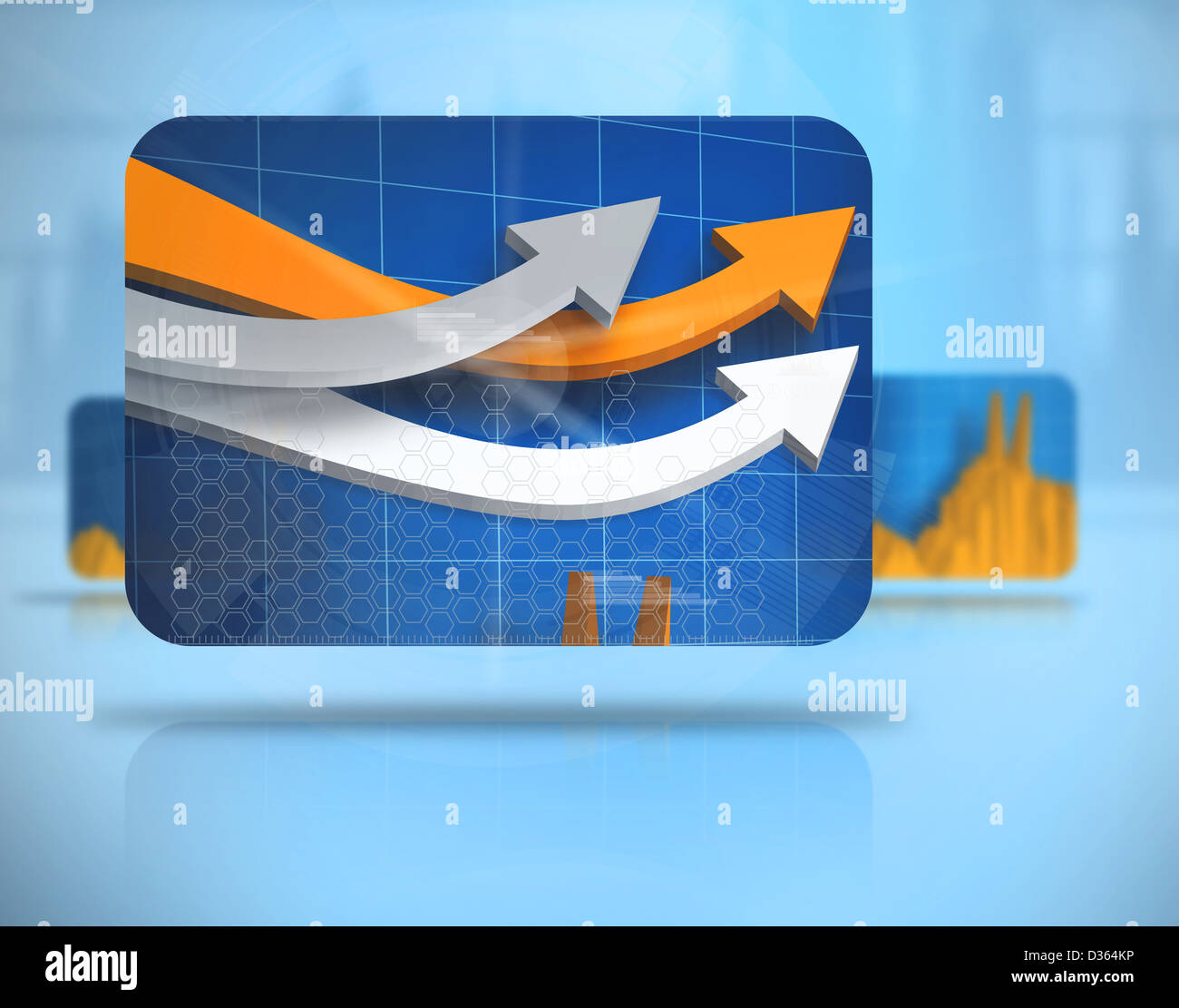Digital background with screens including graphs - Stock Image