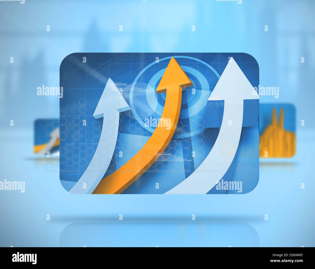 Digital blue background with screens including graphs - Stock Image